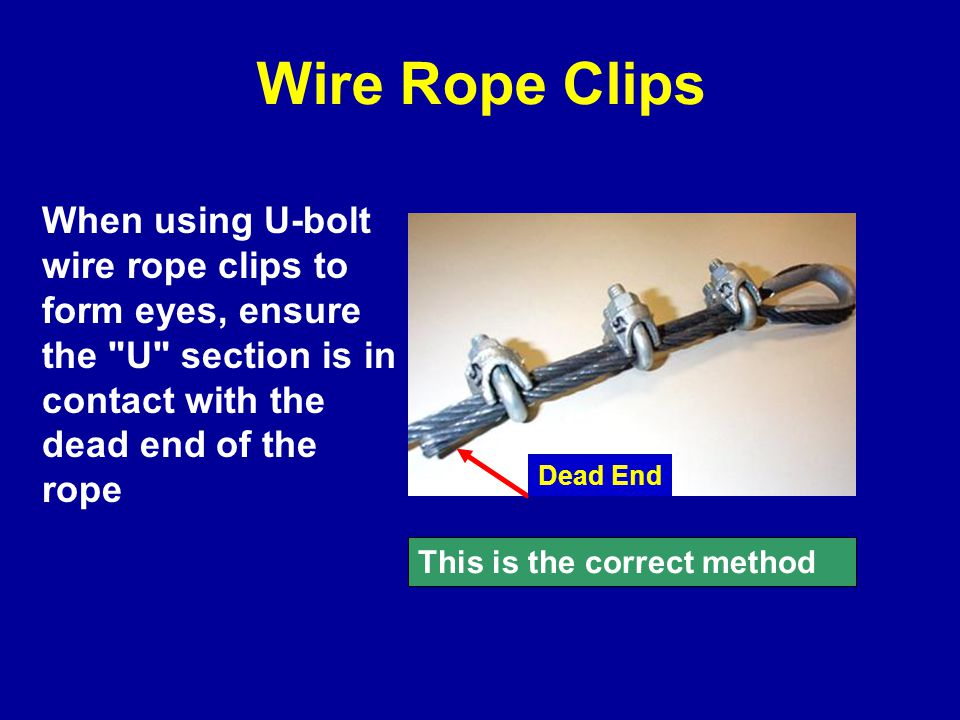 Wire Rope Clips When using U-bolt wire rope clips to form eyes, ensure the U section is in contact with the dead end of the rope This is the correct method Dead End