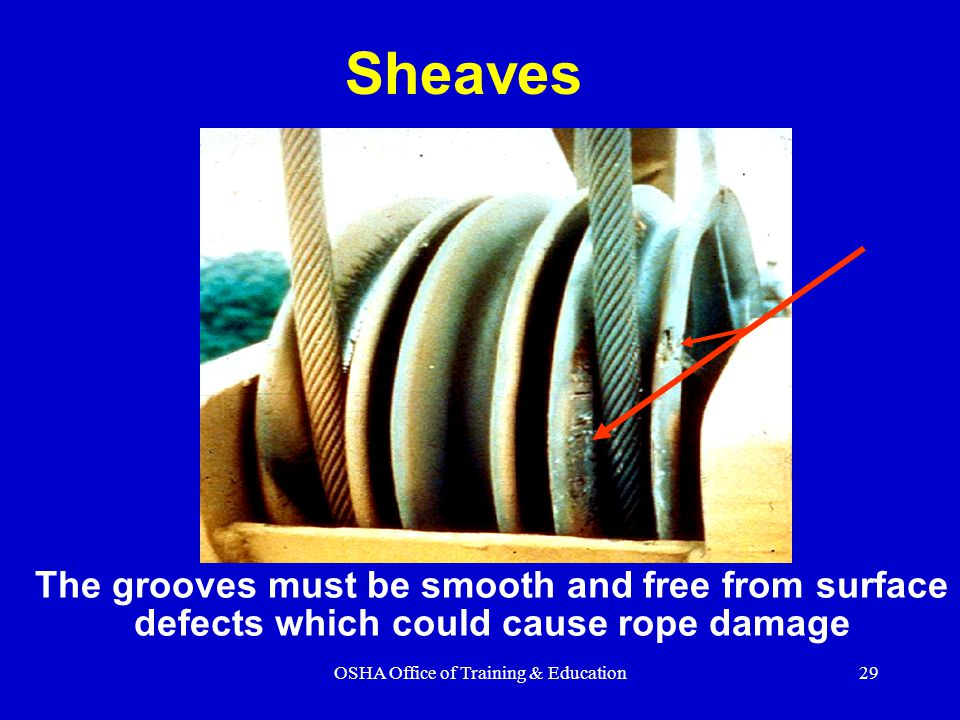 OSHA Office of Training & Education29 The grooves must be smooth and free from surface defects which could cause rope damage Sheaves