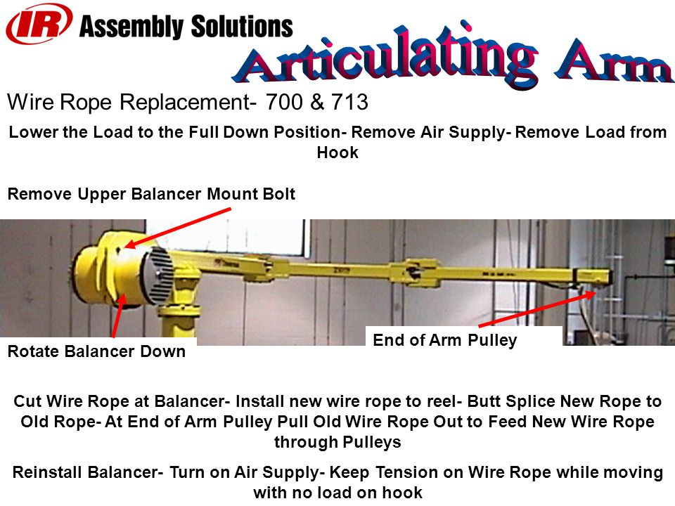 Wire Rope Replacement- 700 & 713 Rotate Balancer Down Lower the Load to the Full Down Position- Remove Air Supply- Remove Load from Hook Remove Upper Balancer Mount Bolt Cut Wire Rope at Balancer- Install new wire rope to reel- Butt Splice New Rope to Old Rope- At End of Arm Pulley Pull Old Wire Rope Out to Feed New Wire Rope through Pulleys Reinstall Balancer- Turn on Air Supply- Keep Tension on Wire Rope while moving with no load on hook End of Arm Pulley