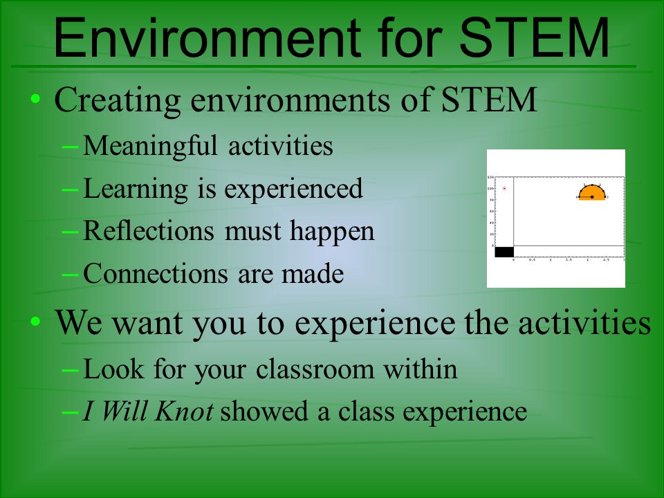 Environment for STEM Creating environments of STEM – Meaningful activities – Learning is experienced – Reflections must happen – Connections are made We want you to experience the activities – Look for your classroom within – I Will Knot showed a class experience