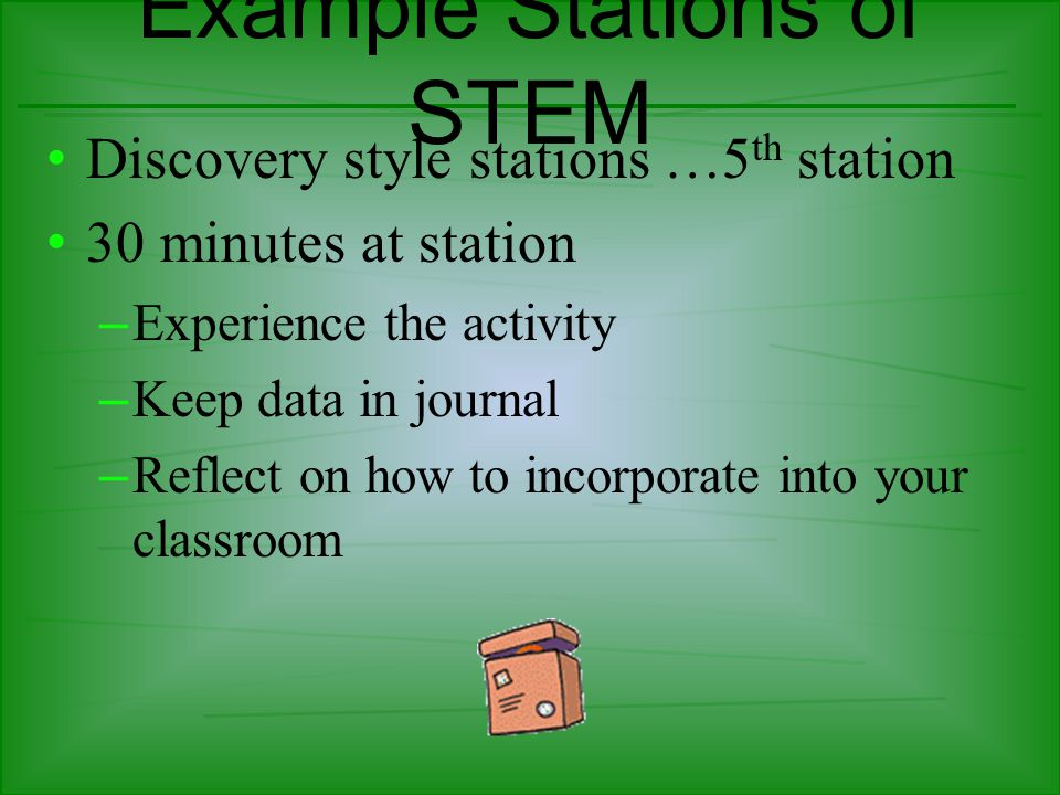 Example Stations of STEM Discovery style stations …5 th station 30 minutes at station – Experience the activity – Keep data in journal – Reflect on how to incorporate into your classroom