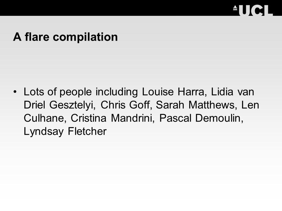 A flare compilation Lots of people including Louise Harra, Lidia van Driel Gesztelyi, Chris Goff, Sarah Matthews, Len Culhane, Cristina Mandrini, Pascal Demoulin, Lyndsay Fletcher