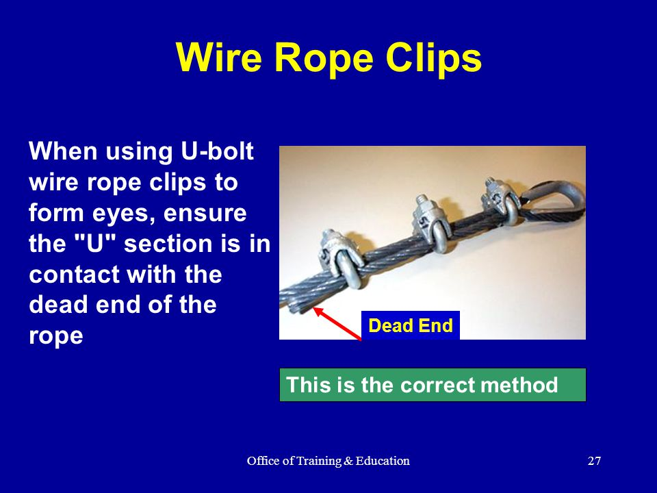 Office of Training & Education27 Wire Rope Clips When using U-bolt wire rope clips to form eyes, ensure the