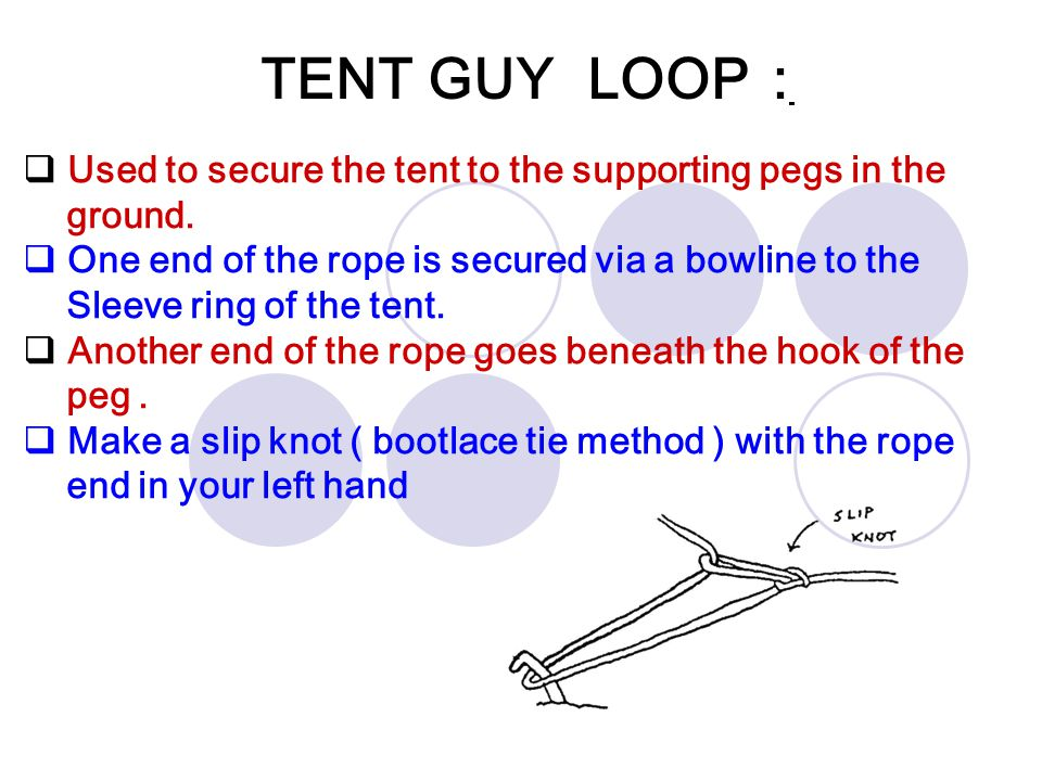 TENT GUY LOOP :  Used to secure the tent to the supporting pegs in the ground.  One end of the rope is secured via a bowline to the Sleeve ring of t