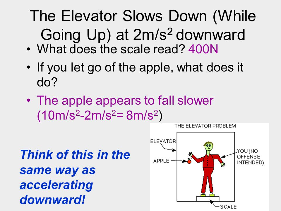 The Elevator Slows Down (While Going Up) at 2m/s 2 downward What does the scale read? 400N If you let go of the apple, what does it do? The apple appe