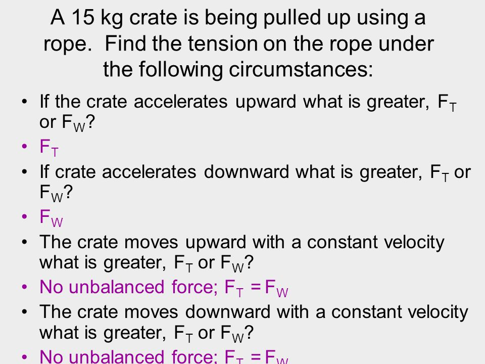 A 15 kg crate is being pulled up using a rope. Find the tension on the rope under the following circumstances: If the crate accelerates upward what is