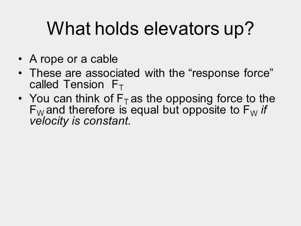 """What holds elevators up? A rope or a cable These are associated with the """"response force"""" called Tension F T You can think of F T as the opposing forc"""