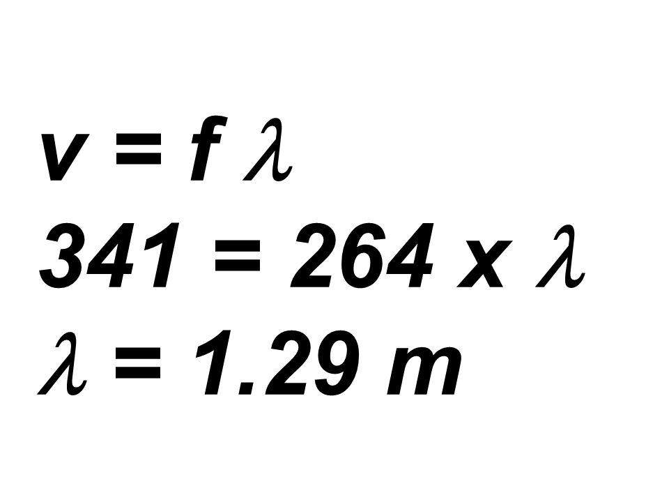 v = f 341 = 264 x = 1.29 m