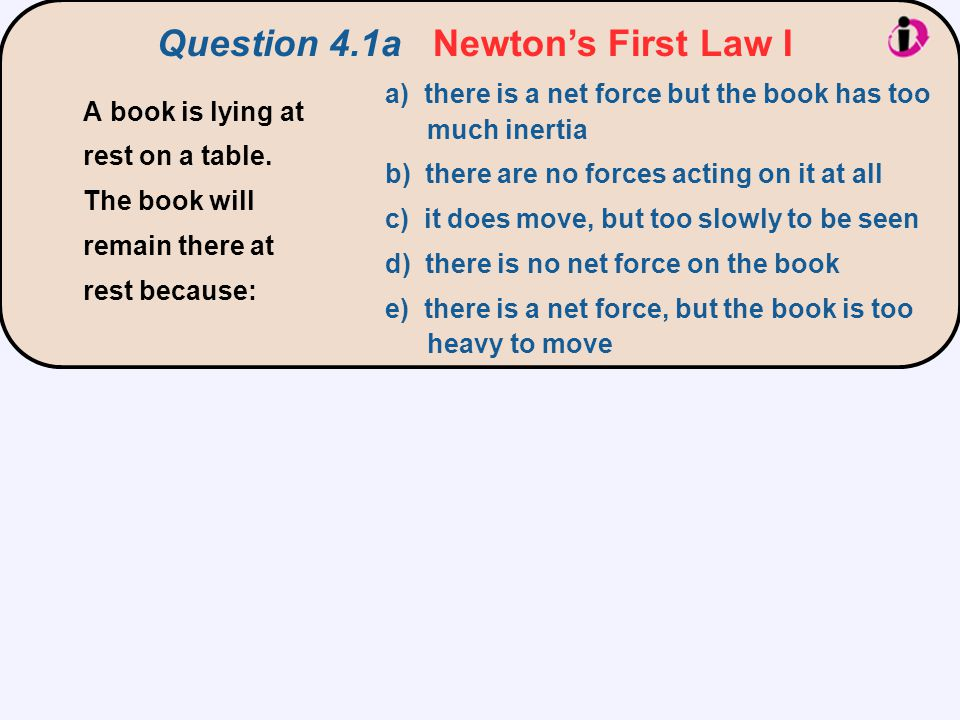 Question 4.1a Newton's First Law I a) there is a net force but the book has too much inertia b) there are no forces acting on it at all c) it does mov