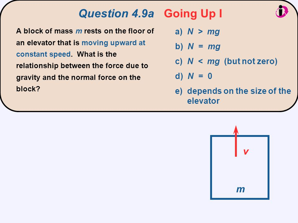 Question 4.9a Going Up I A block of mass m rests on the floor of an elevator that is moving upward at constant speed. What is the relationship between