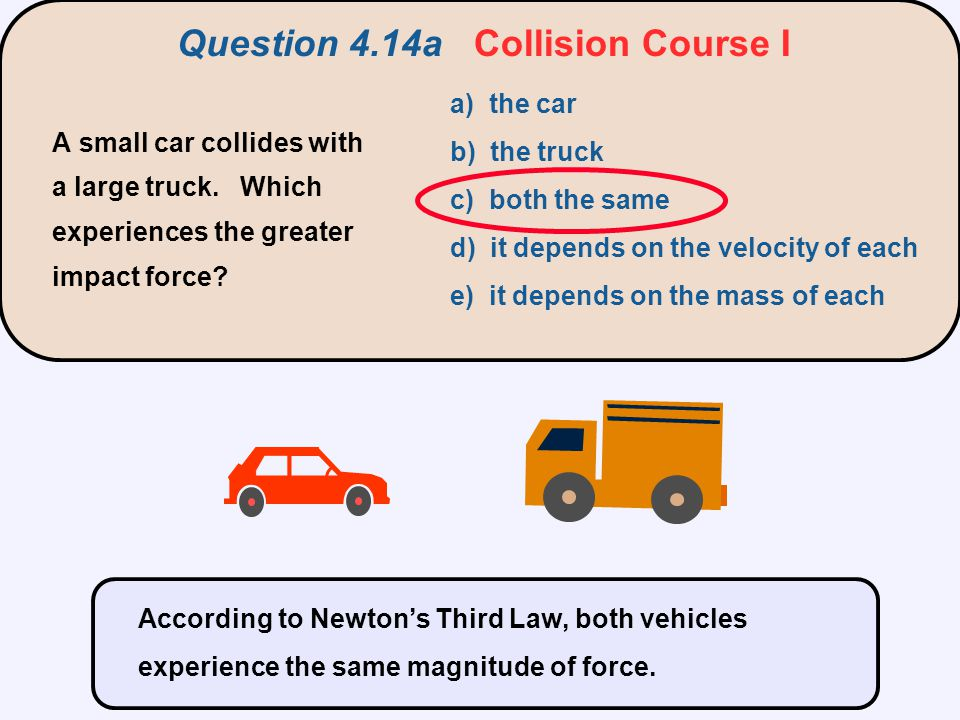 Question 4.14a Collision Course I A small car collides with a large truck. Which experiences the greater impact force? a) the car b) the truck c) both