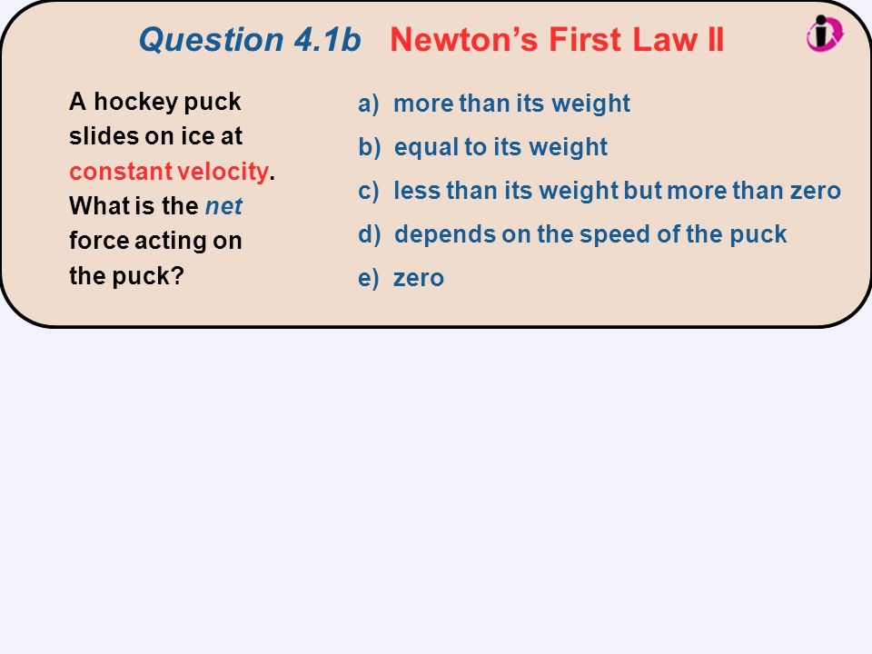 Question 4.1b Newton's First Law II a) more than its weight b) equal to its weight c) less than its weight but more than zero d) depends on the speed