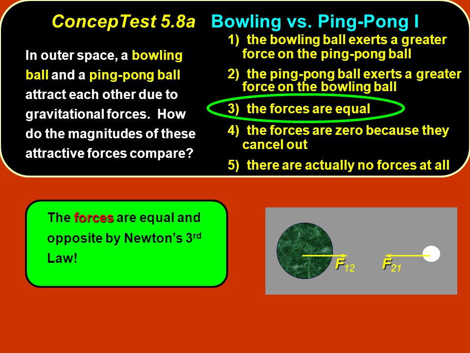 F F 12 F F 21 forces The forces are equal and opposite by Newton's 3 rd Law.