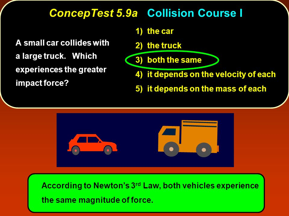 ConcepTest 5.9aCollision Course I ConcepTest 5.9a Collision Course I A small car collides with a large truck.