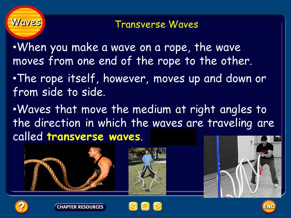 Waves Transverse Waves When you make a wave on a rope, the wave moves from one end of the rope to the other.