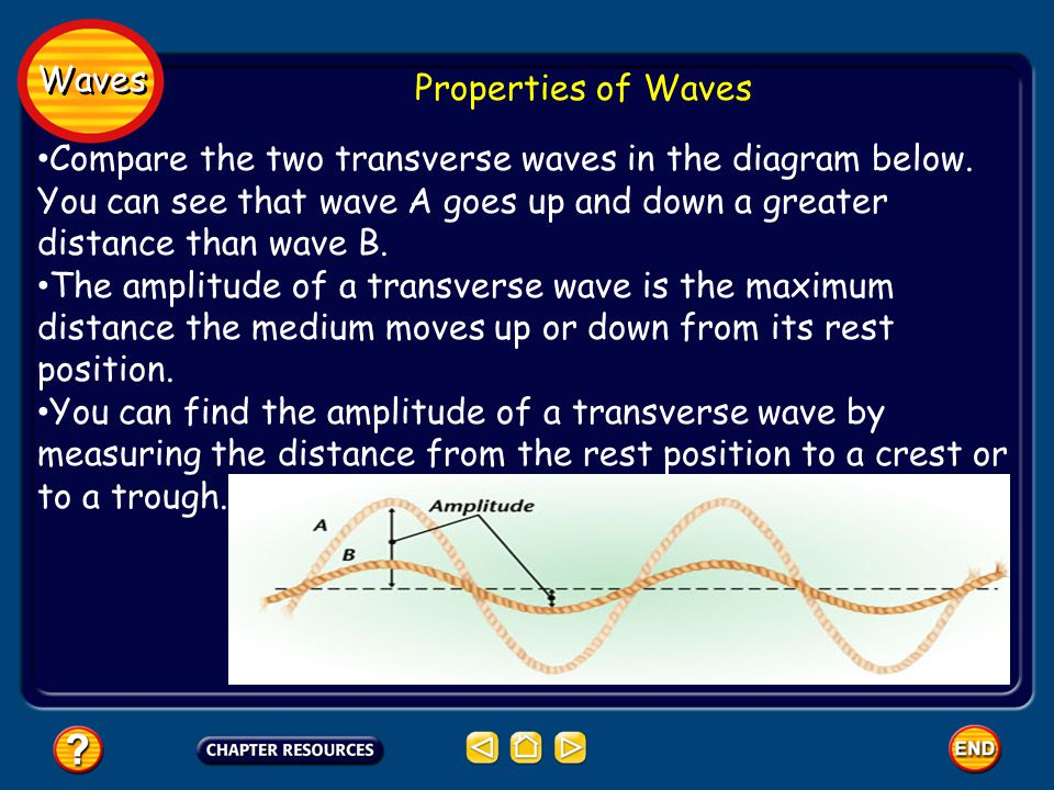 Waves Properties of Waves Compare the two transverse waves in the diagram below.
