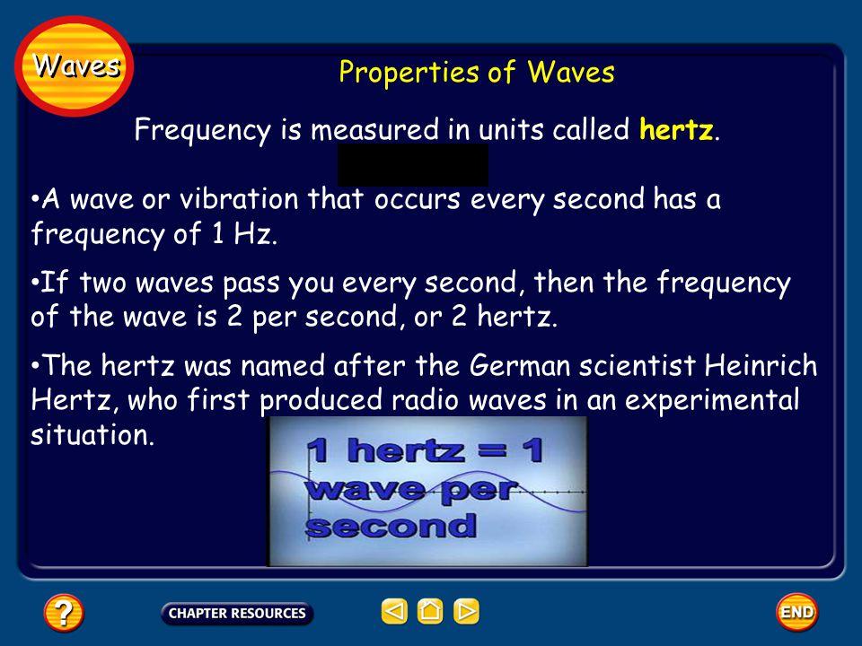 Waves Properties of Waves Frequency is measured in units called hertz.