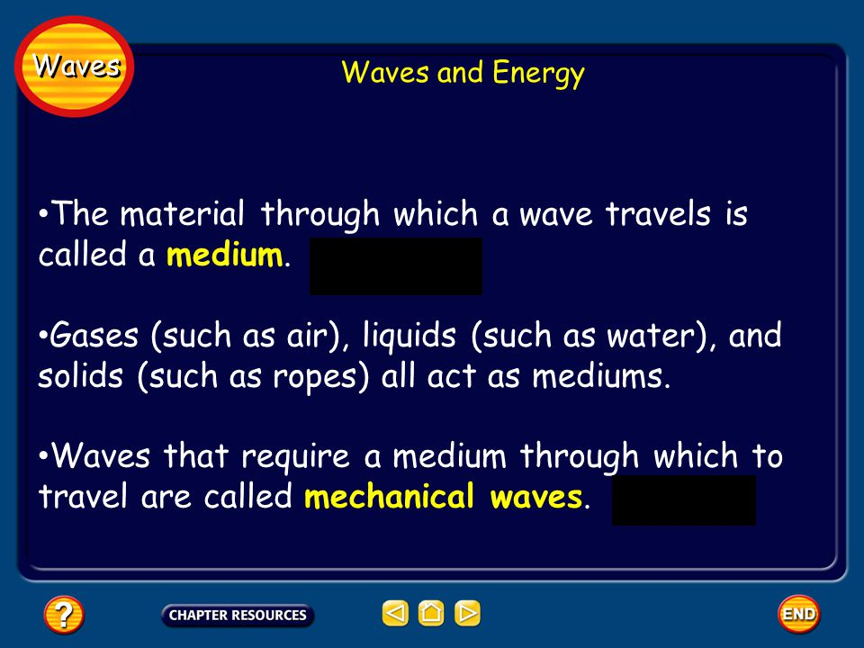 Waves Waves and Energy The material through which a wave travels is called a medium. Gases (such as air), liquids (such as water), and solids (such as