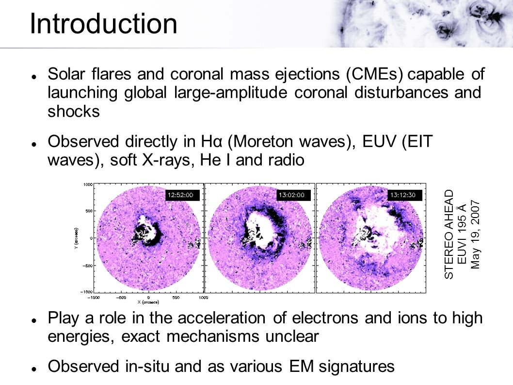Introduction Solar flares and coronal mass ejections (CMEs) capable of launching global large-amplitude coronal disturbances and shocks Observed direc