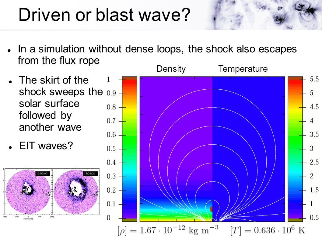 Driven or blast wave? In a simulation without dense loops, the shock also escapes from the flux rope The skirt of the shock sweeps the solar surface f