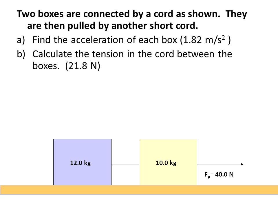 Two boxes are connected by a cord as shown. They are then pulled by another short cord. a)Find the acceleration of each box (1.82 m/s 2 ) b)Calculate