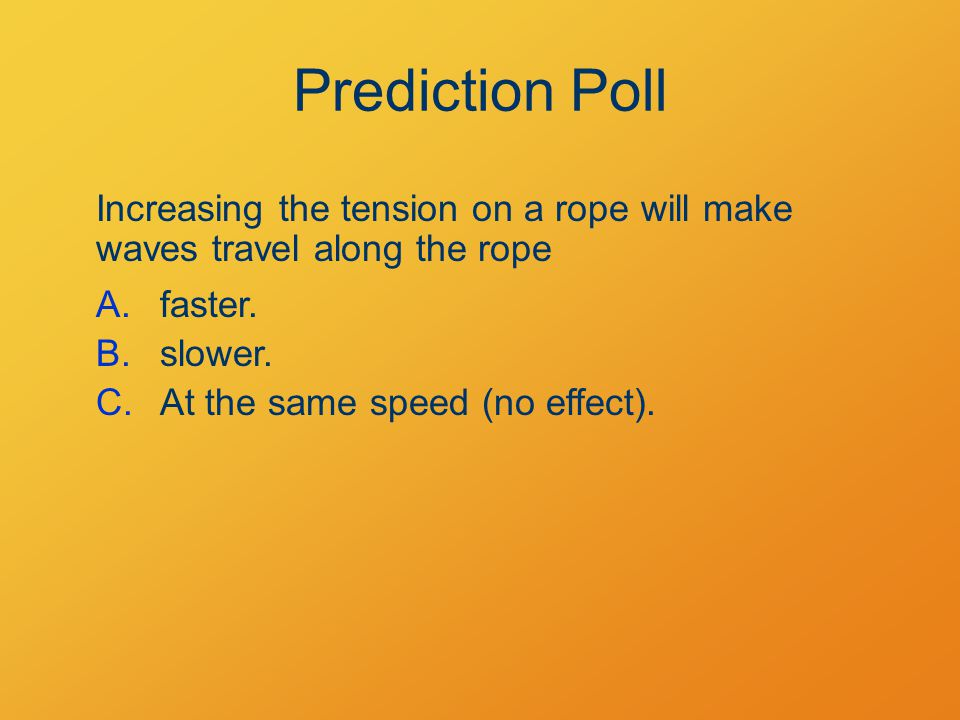 Prediction Poll Increasing the tension on a rope will make waves travel along the rope A.faster.