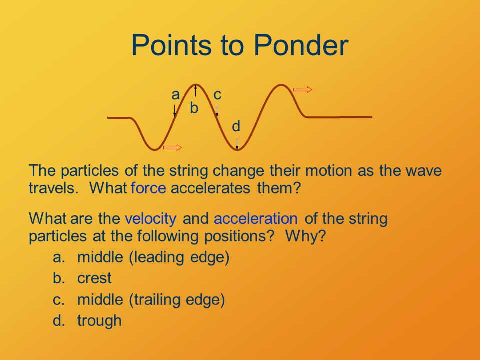 Points to Ponder The particles of the string change their motion as the wave travels.