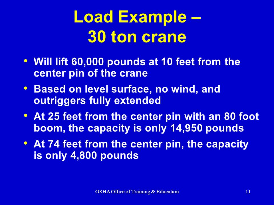OSHA Office of Training & Education11 Load Example – 30 ton crane Will lift 60,000 pounds at 10 feet from the center pin of the crane Based on level surface, no wind, and outriggers fully extended At 25 feet from the center pin with an 80 foot boom, the capacity is only 14,950 pounds At 74 feet from the center pin, the capacity is only 4,800 pounds
