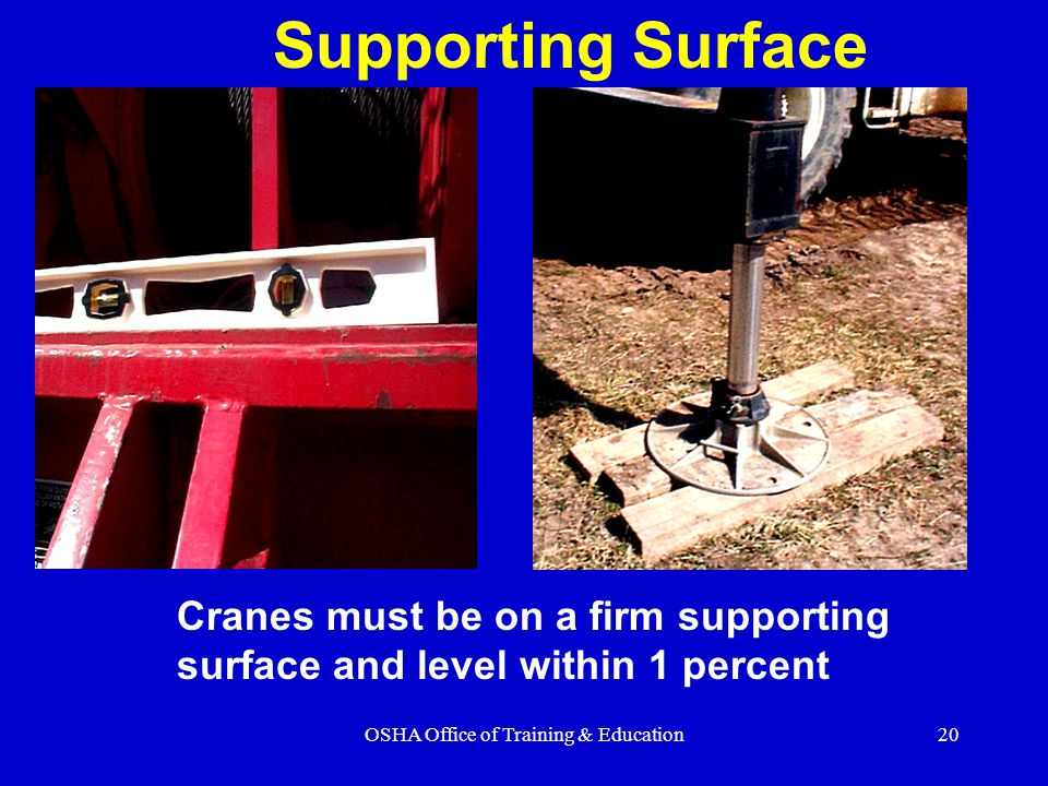 OSHA Office of Training & Education20 Supporting Surface Cranes must be on a firm supporting surface and level within 1 percent