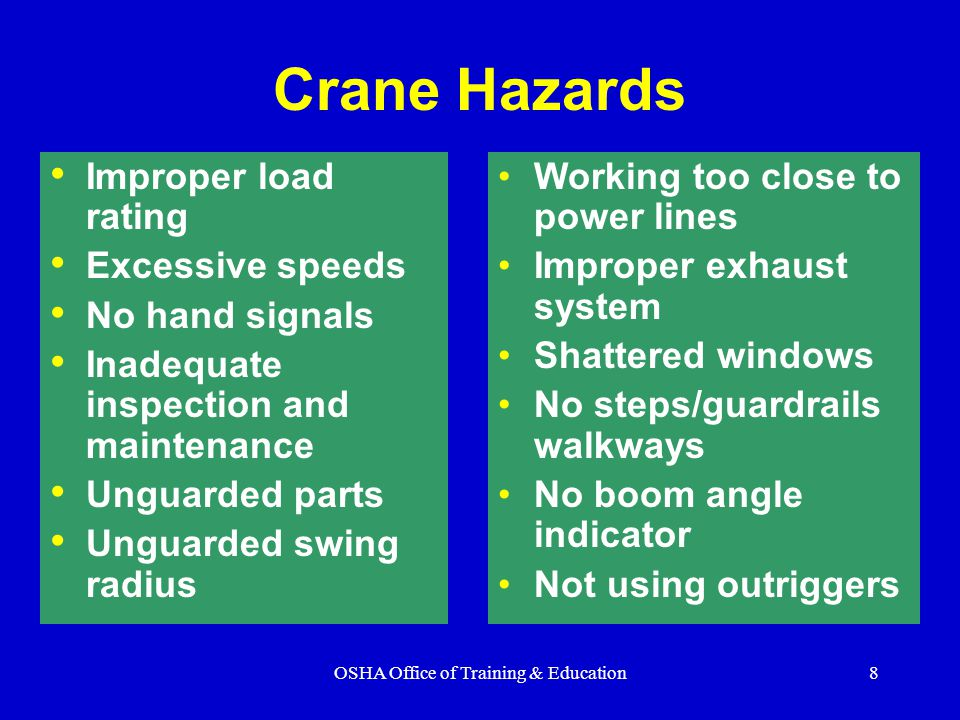 OSHA Office of Training & Education29 Damaged wire rope Broken Strands Damaged wire rope must be taken out of service Crushed Rope