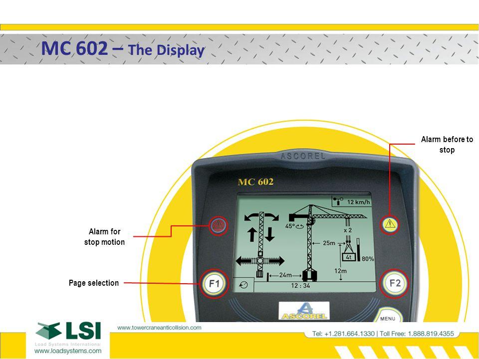 MC 602 – The positive safety 1- Internal fault on low crane [TC2]. TC1TC2 STOP