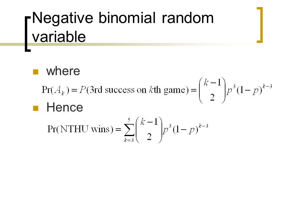 Negative binomial random variable where Hence