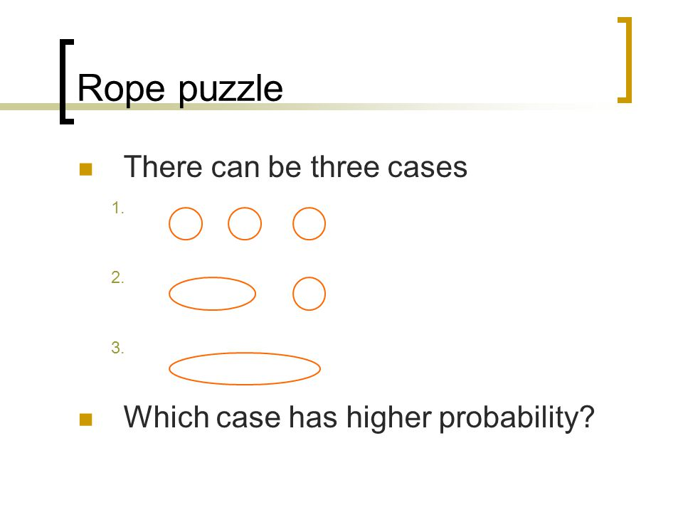 Rope puzzle There can be three cases 1. 2. 3. Which case has higher probability