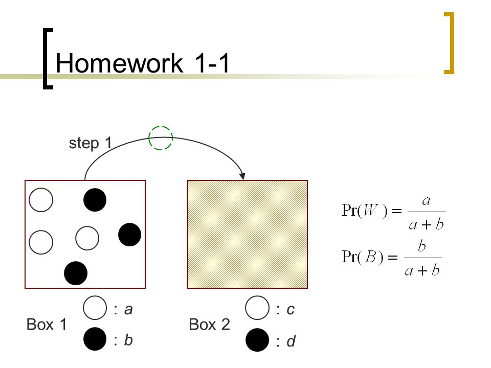 Homework 1-1 :a:a :b:b :c:c :d:d Box 1Box 2 step 1