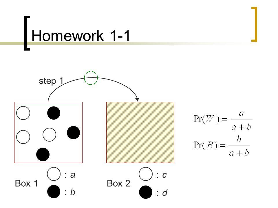 Homework 1-1 Draw a white ball from Box 2 : event A  Pr(A) = Pr(A∩ (W ∪ B)) = Pr((A∩ W) ∪ (A∩ B)) = Pr(A∩ W) + Pr(B∩ W) = Pr(A W)Pr(W) + Pr(A B)Pr(B)