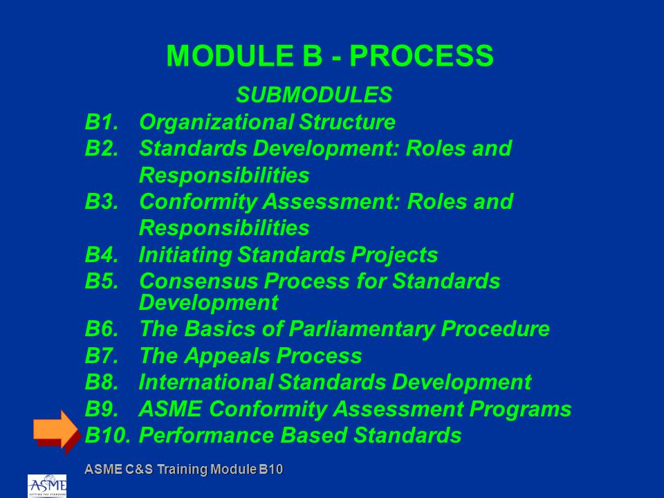 ASME C&S Training Module B10 MODULE B - PROCESS SUBMODULES B1.Organizational Structure B2.Standards Development: Roles and Responsibilities B3.Conformity Assessment: Roles and Responsibilities B4.Initiating Standards Projects B5.Consensus Process for Standards Development B6.The Basics of Parliamentary Procedure B7.The Appeals Process B8.International Standards Development B9.ASME Conformity Assessment Programs B10.Performance Based Standards