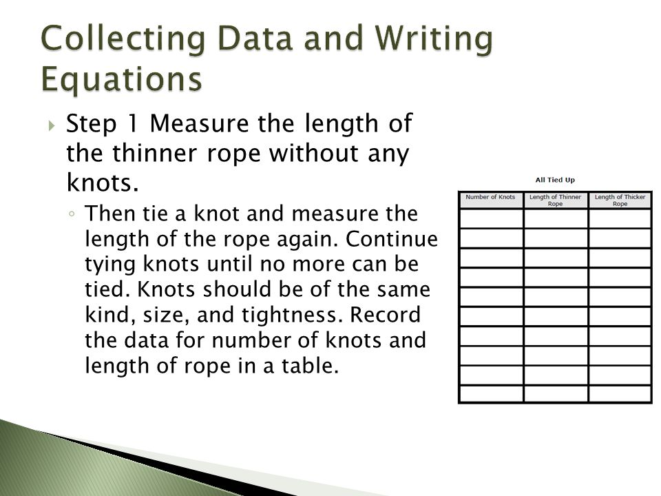  Step 1 Measure the length of the thinner rope without any knots.