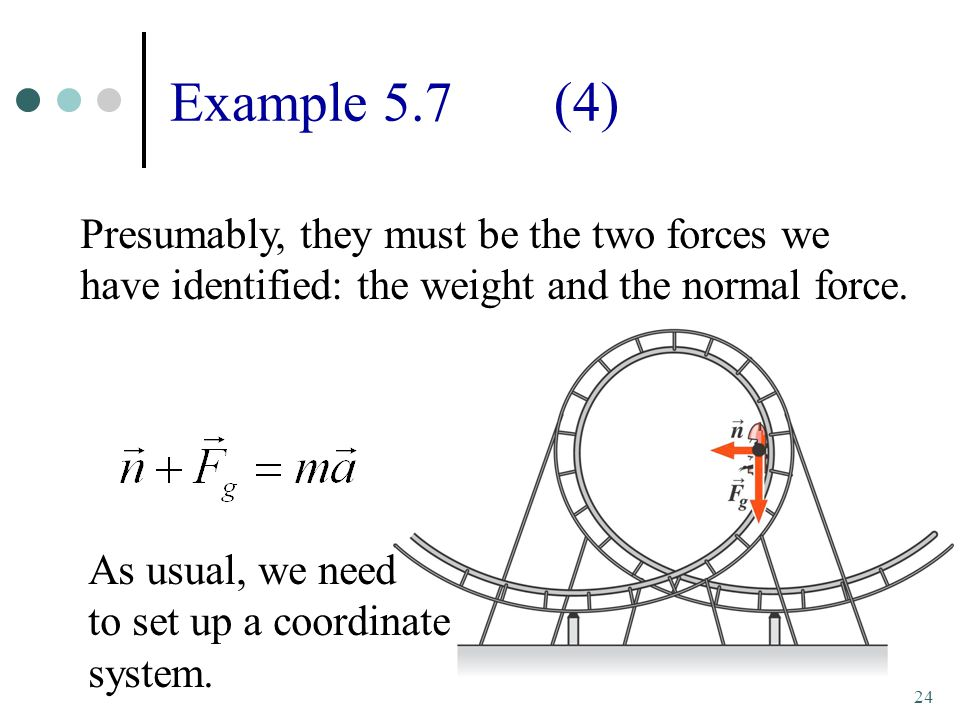 24 Example 5.7(4) Presumably, they must be the two forces we have identified: the weight and the normal force.