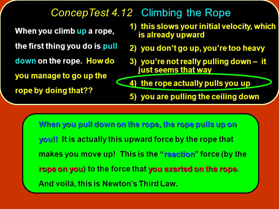 When you pull down on the rope, the rope pulls up on you!.