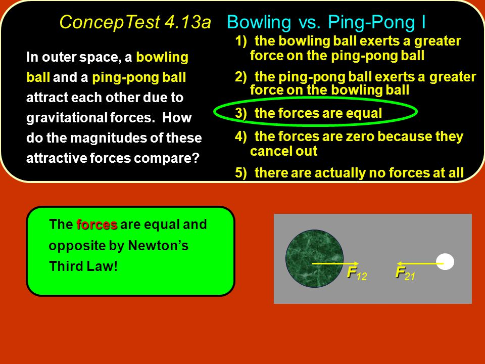F F 12 F F 21 forces The forces are equal and opposite by Newton's Third Law.