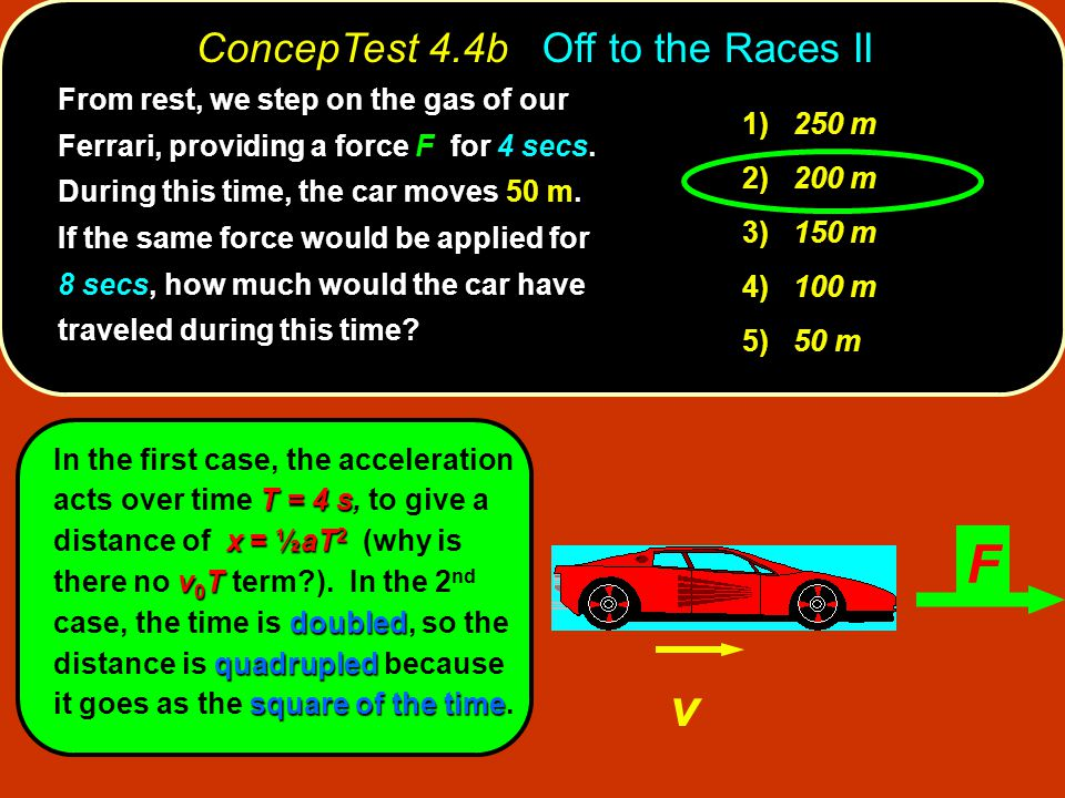 T = 4 s x = ½aT 2 v 0 T doubled quadrupled square of the time In the first case, the acceleration acts over time T = 4 s, to give a distance of x = ½aT 2 (why is there no v 0 T term?).