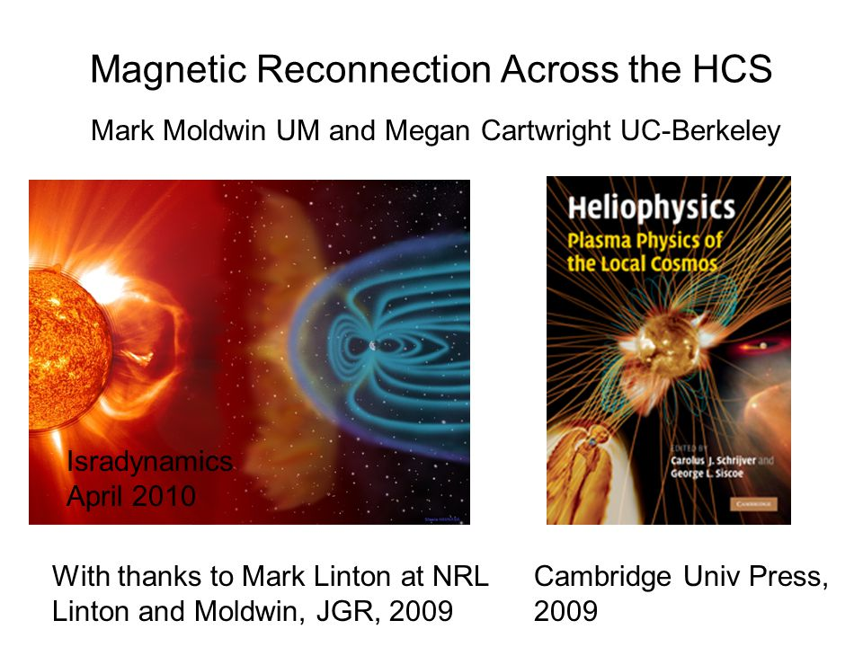 Magnetic Reconnection Across the HCS Mark Moldwin UM and Megan Cartwright UC-Berkeley Isradynamics April 2010 With thanks to Mark Linton at NRL Linton
