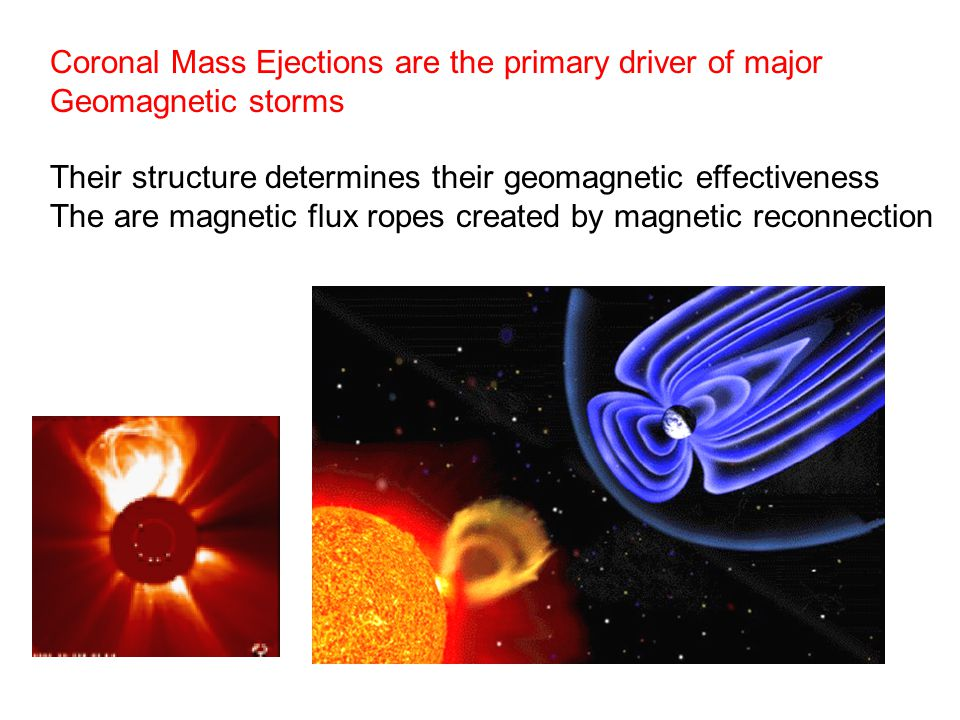 Coronal Mass Ejections are the primary driver of major Geomagnetic storms Their structure determines their geomagnetic effectiveness The are magnetic
