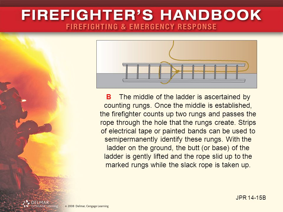 JPR 14-15C C The knot should be approximately in the center of the ladder between the beams.