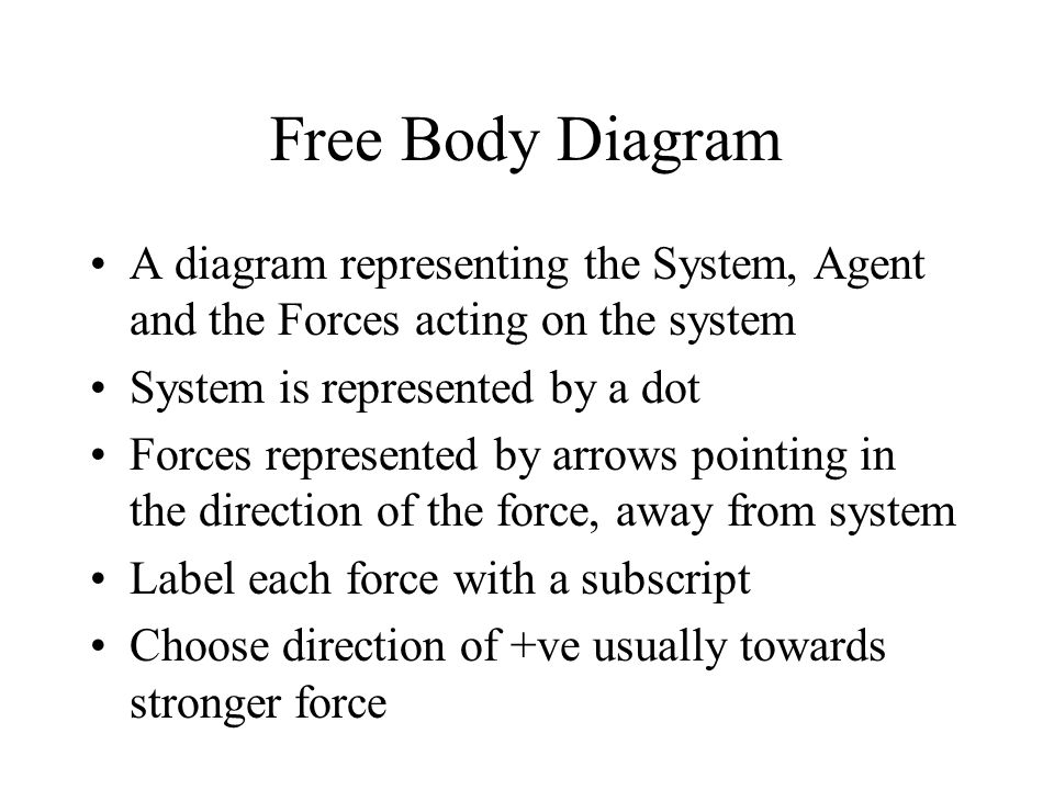 Free Body Diagram A diagram representing the System, Agent and the Forces acting on the system System is represented by a dot Forces represented by arrows pointing in the direction of the force, away from system Label each force with a subscript Choose direction of +ve usually towards stronger force