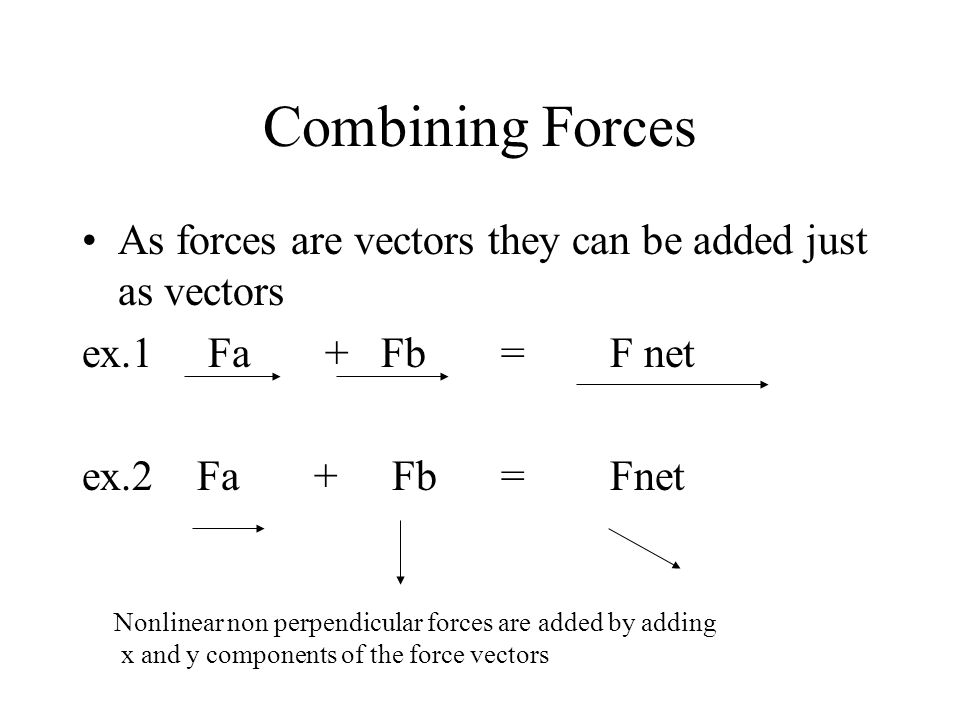 Combining Forces As forces are vectors they can be added just as vectors ex.1 Fa + Fb = F net ex.2 Fa + Fb = Fnet Nonlinear non perpendicular forces are added by adding x and y components of the force vectors