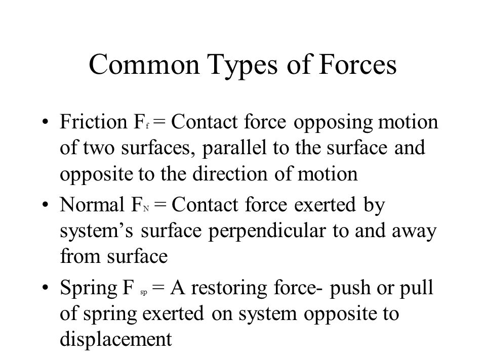 Common Types of Forces Friction F f = Contact force opposing motion of two surfaces, parallel to the surface and opposite to the direction of motion Normal F N = Contact force exerted by system's surface perpendicular to and away from surface Spring F sp = A restoring force- push or pull of spring exerted on system opposite to displacement