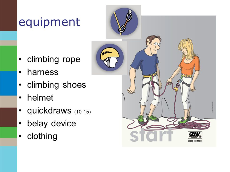 equipment climbing rope harness climbing shoes helmet quickdraws (10-15) belay device clothing