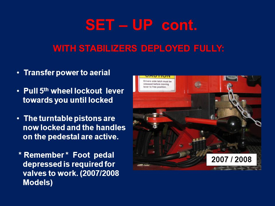 SET – UP cont.You MUST know your load limits of your apparatus.