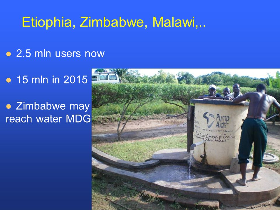 Etiophia, Zimbabwe, Malawi,.. 2.5 mln users now 15 mln in 2015 Zimbabwe may reach water MDG!